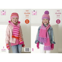 KC5263 Girls Scarves, Helmets & Mitts in King Cole Big Value DK 50g