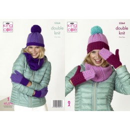 KC5264 Women's Snoods, Mitts & Hats in King Cole Big Value DK 50g