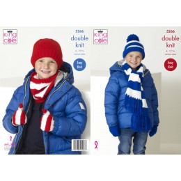 KC5266 Boys Scarf, Snood, Hats & Mitts in King Cole Big Value DK 50g