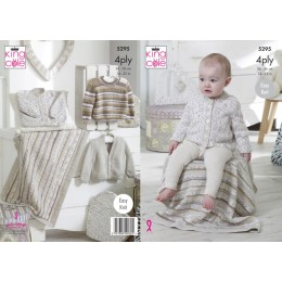 KC5295 Babies Cardigan, Sweater & Blanket in King Cole Big Value Baby 4Ply