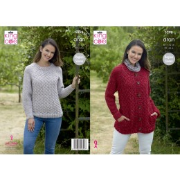 KC5298 Ladies Sweater & Jacket in King Cole Big Value Aran