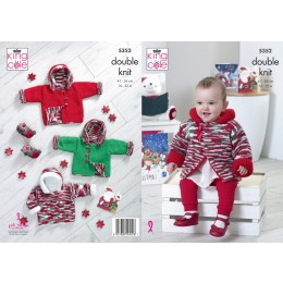 KC5352 Toddlers Reversible Christmas Duffle Coat in King Cole Big Value & Glitz DK