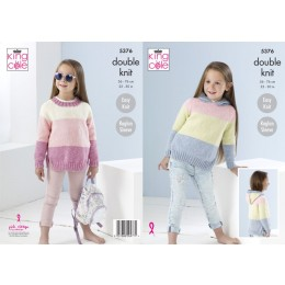 KC5376 Girls Sweaters in King Cole Cotton Top DK