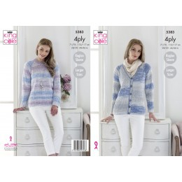 KC5383 Ladies Cardigan and Sweater in King Cole Drifter 4Ply