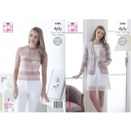 KC5386 Top and Cardigan for Women in King Cole Drifter 4Ply