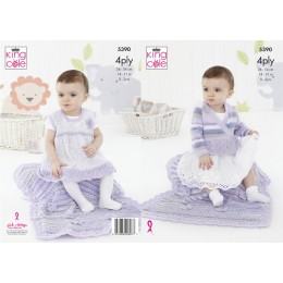 KC5390 Cardigan, Pinafore Dress and Blanket for Babies in King Cole Big Value Baby 4Ply