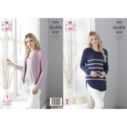 KC5395 Ladies Tunic & Cardigan in King Cole Finesse DK