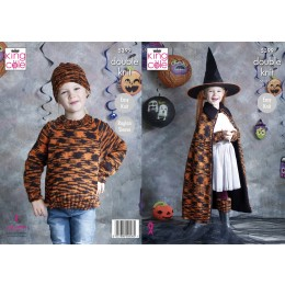 KC5399 Children's Sweater, Wrist & Leg Warmers, Hat, Cape & Pumpkin in King Cole Glitz DK