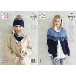 KC5481 Ladies Cardigan, Snood & Hat in King Cole Subtle Drifter DK
