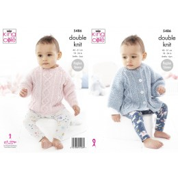 KC5486 Baby/Child's Sweater & Cape in King Cole Cotton Top DK
