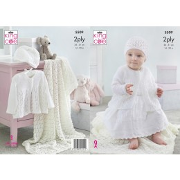 KC5509 Baby's Matinee Jacket, Shawl & Hat in King Cole Comfort 2Ply