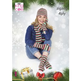 KC5545 Christmas Hat, Scarf, Fingerless Gloves & Socks in King Cole Zig Zag 4Ply