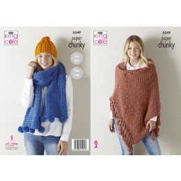 KC5549 Lady's Wrap, Hat & Scarf in King Cole Big Value Super Chunky