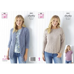 KC5551 Women's Cardigan, Sweater & Cap Sleeved Top in King Cole Timeless Chunky