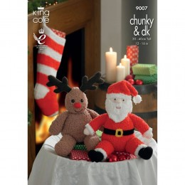 KC9007 Santa and Rudolph Toys and Christmas Stocking Knitted with Various King Cole DKs and Chunky Yarns