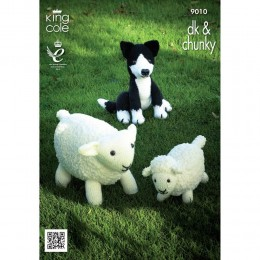 KC9010 Sheep, Lamb and Sheepdog Toys Knitted with Various Cuddles Chunky and Big Value DK