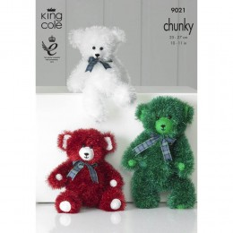 KC9021 Teddies Knitted with Tinsel Chunky & Dollymix DK