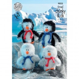 KC9025 Penguins Knitted with Tinsel Chunky & Dollymix DK