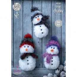 KC9030 Snowmen Knitted with Tinsel Chunky & Big Value DK