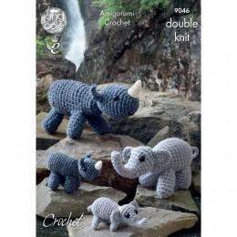 KC9046 Mother, Baby Elephants & Rhinos