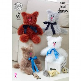 KC9049 Cats Knitted with Tinsel Chunky