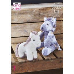 KC9128 Pony with Button-On Legs & Standing Pony in King Cole Cottonsoft DK
