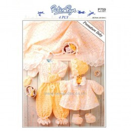 P759 Premature Baby's Shawl, Mittens, Bonnet, Trousers, Matinee Coat, Cardigan And Bootees