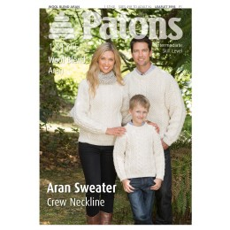 Patons 3916 Wool Blend Aran Sweater with Crew Neckline for Men, Women and Children