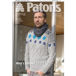 Patons 4021 Mens Cable and Fairisle jumper using Merino Extrafine Aran