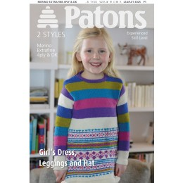 Patons 4025 Girl's Dress, Leggings and Hat in Merino Extrafine 4 ply and DK