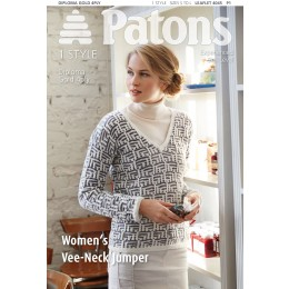 Patons 4045 Women's V-Neck Jumper using Diploma Gold 4 ply