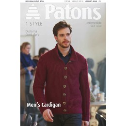 Patons 4046 Men's Long Sleeved Cardigan using Patons Diploma Gold 4 ply
