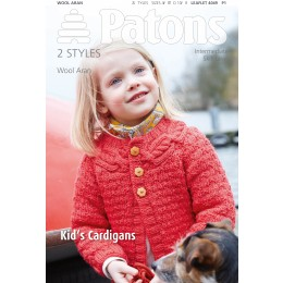 Patons 4049 Girls Cable Yoked Cardigan and Boy's Striped Cardigan In Patons Wool Aran