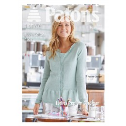 Patons 4051 Women's Peplum Cardigan knitted using 100% Cotton 4 ply