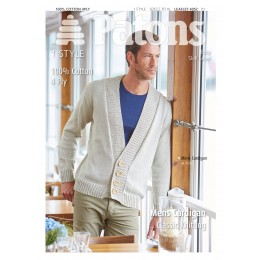Patons 4052 Mens' Deep V-Neck Cardigan knitted using Patons Machine Washable 100% Cotton 4 ply