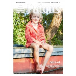 Patons 4058 Girls Textured Coat using Patons Machine Washable 100% Cotton