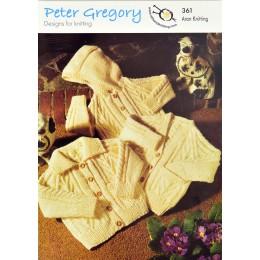 PG361 Children's Cable Cardigan Snow Goose Aran