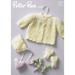 PP1068 Baby Cardigan, Mittens and Hat 4ply