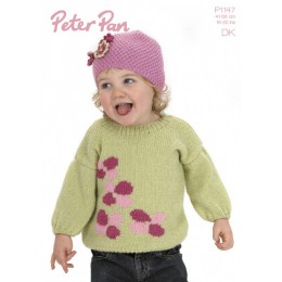 PP1147 Girls Flower Jumper and Hat DK