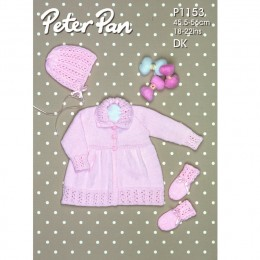 PP1153 Baby Cardigan, Hat and Mittens DK