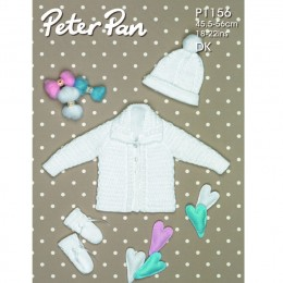 PP1156 Baby Cardigan, Hat and Mittens DK