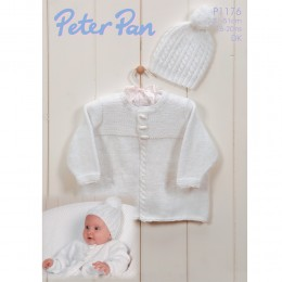 PP1176 Baby Cardigan and Hat DK