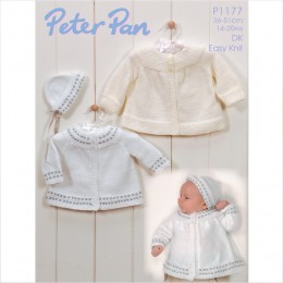 PP1177 Baby Cardigans and Hat DK