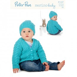 PP1187 Baby Cable Cardigan and Hat DK