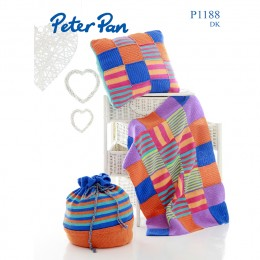 PP1188 Knitted Patchwork Blanket, Cushion and Bag DK