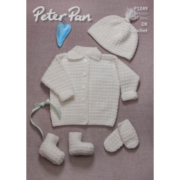 PP1249 Baby Cardigan, Hats, Booties and Mittens DK