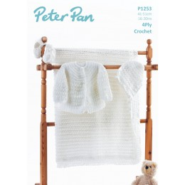 PP1253 Baby Cardigan, Hat and Blanket 4ply