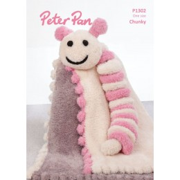 PP1302 Bobble Edge Blanket & Caterpillar in Peter Pan Precious Chunky