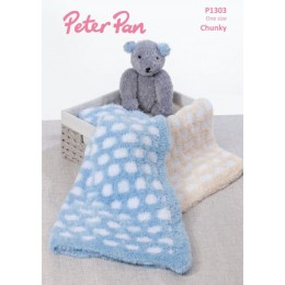 PP1303 Honeycomb Blanket & Teddy Bear in Peter Pan Precious Chunky