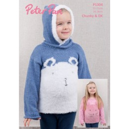 PP1304 Children's Cat & Polar Bear Sweater in Peter Pan Precious Chunky & Peter Pan DK
